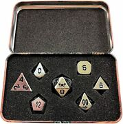 Rare Dwarven Chest W/ Chrome / Silver Color With Black Numbering Metal Dice Set