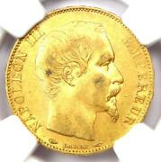 1854-a France Napoleon Iii Gold 20 Francs Coin G20f - Certified Ngc Au58 - Rare
