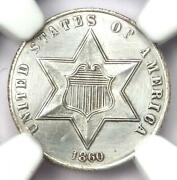 1860 Three Cent Silver Coin 3cs - Certified Ngc Unc Details Ms - Rare Coin