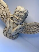 Antique Large Hand Carved Painted Wood Angel Cherub Distressed Decor Wall Vtg A