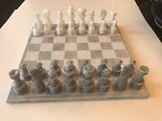 """Stone Marble Chess Set Hand-carved Figures Gray And White 12"""" Game Board 3"""" King"""