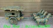 Old China War And Han Dynasty Bronze Ware Silver Gilt Horse-drawn Carriage Set