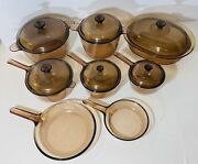 Vintage 14 Pc Corning Ware Visions Pyrex Pans Lids Skillet Cookware Amber Brown