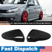 Left + Right Wing Mirror Cover Caps For Vw Golf/gti Mk6 2009-2013 Glossy Black
