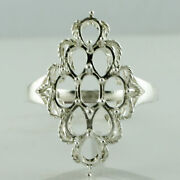 Semi Mount Causal Ring 4x6mm Pear Shape Faceted Cut 18k White Gold