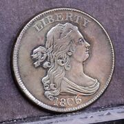 1806 Half Cent - Large 6 With Stems - Ch Xf Details 38032
