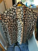 Menand039s Sheer Istante Versace Long Sleeve Shirt - Black And White Geometric Pattern