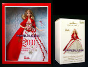 2010 Holiday Barbie Doll Collector Matching Hallmark Christmas Ornament Lot 2 G