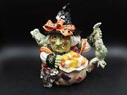 Fitz And Floyd Halloween Witch 9 Teapot W/ Box 2006 Candy Corn, Toads And Cat