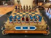 Magnificent 1900 European Gold Sterling Silver Enamel Amethyst Pearl Chess Set