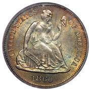 1860 10c Liberty Seated Dime Pcgs Ms65