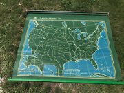 Vintage Mid Century 1950's Large Nystrom Royal Usa World Pull Down Map