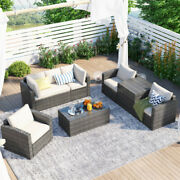 7-piece Patio Wicker Sofa , Cushions, Chairs , A Loveseat , A Table And Storage