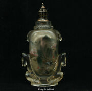 Old Chinese Colored Glaze Inner Painting Horse Landscape Palace Snuff Bottle 08