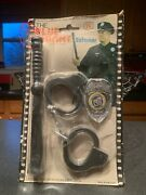 1976 Tv Series The Blue Knight Enforcer Toy Handcuffs Badge And Billy Club Carded.