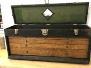 Antique Gerstner Leather And Oak 5 Drawer Machinist Tool Chest Box Style 44 Large
