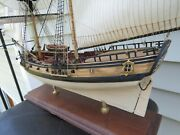 Nicely Detailed Wooden Ship Model Assembled Fair American Approx 27 Lengthandnbsp