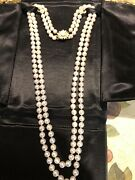 Vintage Genuine Fresh Water Pearl Necklace Double Strand. 16andrdquo Length. 7 1/2 Mm.