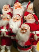 Vintage Lot Santa Claus Dolls Made Of Plastic And Cloth Christmas Decor 1960's