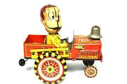 Linemar Marx Tin Windup Mechanical Fire Chief Crazy Action Fire Truck As Is