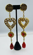 Christian Lacroix France Gold Plated Red Glass Large Runway Dangle Earrings
