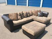 Leather And Microfiber Sectional Couch With Ottoman - Free Delivery