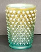 Fenton Carnival Glass Yellow/green Hobnail Juice Water Cup Glasses Tumblers