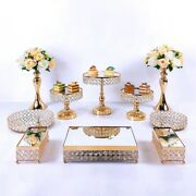 10pcs Round Cake Stands Holders Crystal Mirror Wedding Supply Party Decorating