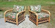 Vintage Pair Mid Century Modern Ficks Reed Rattan Bamboo Patio Lounge Chairs