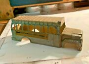 Hubley School Bus 2 Body W Grill And Stickers Marked 493 Original Paint Shows Age