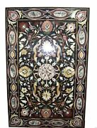 6and039x3and039 Black Marble Dining Center Table Top Semi Precious Stone Inlay Work Art