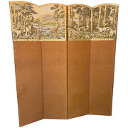 Victorian 4 Panelled Sporting Hunting Dogs Deers Tapestry Room Extending Divider
