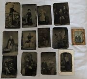 Lot Of 14 Antique Photos Tintype And 1 Ambrotype In Frame 1800s Family People Baby