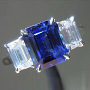 Classic 2.84 Ct Sapphire And Diamond Wedding Ring Solid 950 Platinum Size 4 5 6 7