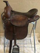 Western Aussie Wide Saddle. Crossover With Comfortable English Stirrups. 16-16.5