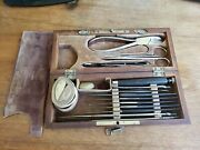 Antique Otto And Son Surgical Surgeon Doctor Medicine Wood Case Kit Bone Saw Tool