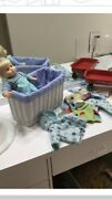 American Girl Bitty Baby Boy Blonde W/ Red Wagon, Clothes, Shoes