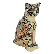 Shearwater Pottery 2016 Colorful Hand Decorated Cat Figurine Grace
