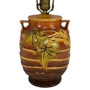 Roseville Pottery Luffa 1934 Brown Factory Arts And Crafts Lamp