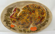 """Vintage Large 18 X 13"""" Thanksgiving Hand Painted Turkey Serving Platter 70's"""