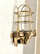 Vintage Nautical Polished Brass Sconce Light Fixture With Glass Proof Cage Lot 5