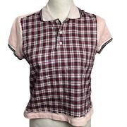 Dsquared2 Plaid Pink Short Sleeve Polo Shirt Top M