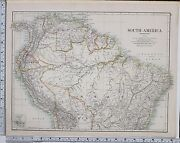 1889 Large Antique Map South America North Section Brazil Ecuador Colombia