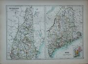1897 Antique Map United States New Hampshire Manchester Concord Maine Franklin