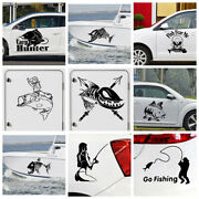 Cute Go Fishing Car Stickers Fish Hunter Creative Motorcycle Decoration Decals