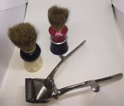 Antique Shaving Brushes Everready And Rex Badger Hair Antique Brown Sharp Trimmer