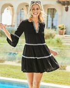Tommy Bahama Cotton Clip Embroidered Tier Dress Black - Clothing For Women