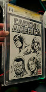 Stan Lee Signed Cgc 9.6 Ss Captain America 1 Signed 5x And Sketched Art 4x Bagley