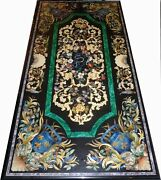 5and039x3and039 Elegant Black Marble Center Table Top Art Pietra Dura Floral Inlay Antique
