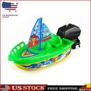 Speed Boat Ship Wind Up Clockwork Float Children Water Boat Toy Sailboat S1
